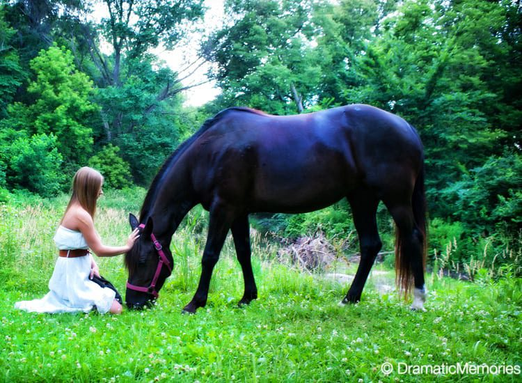 girl from a senior photoshoot petting her black horse
