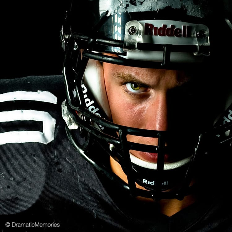 Sports Senior Pictures Football Helmet Closeup