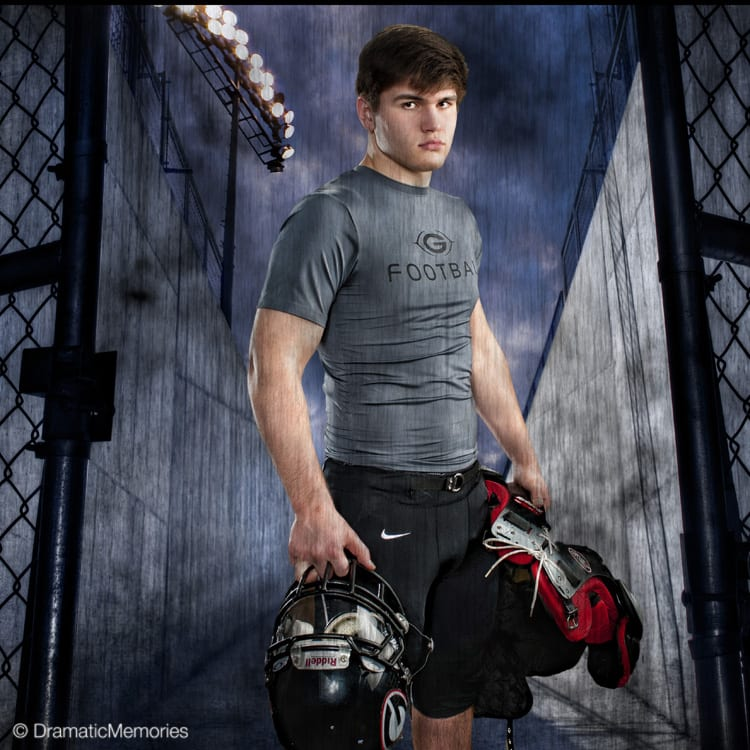 Sports Senior Pictures Football Player at Stadium
