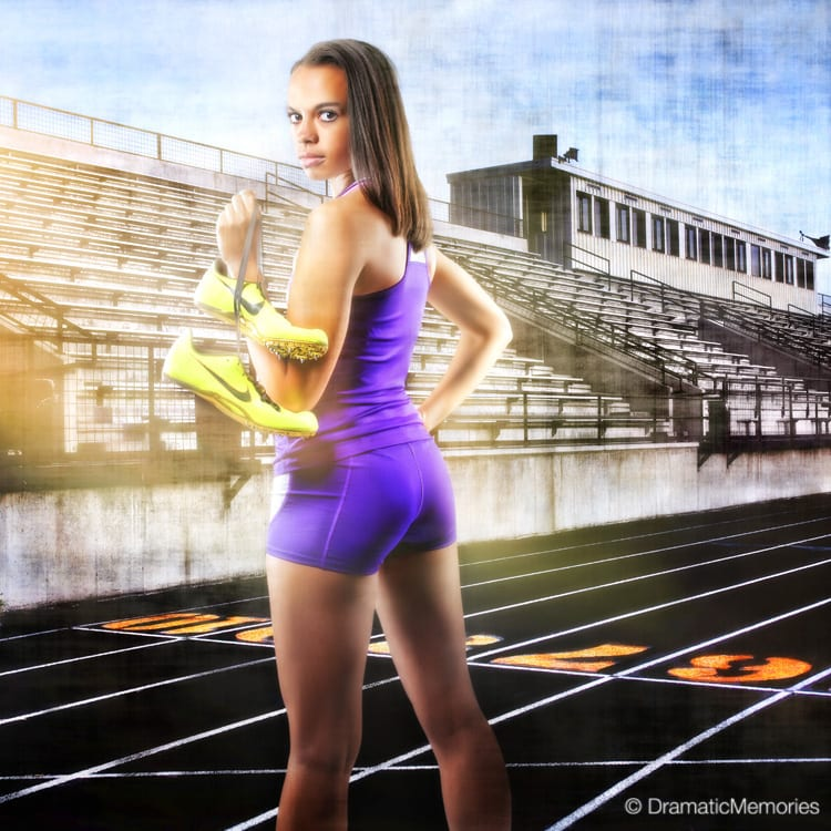 Sports Senior Pictures Track Girl at Stadium