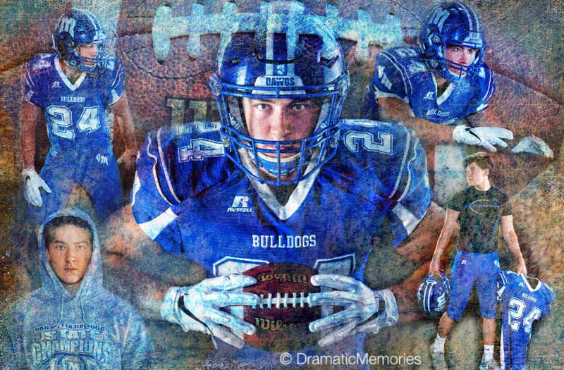 football player in artistic montage